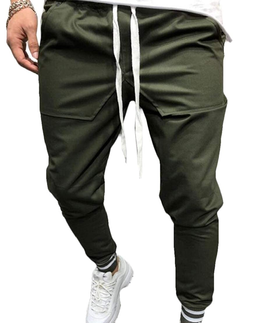 YYear Mens Letters Print Slim Fit Sports Jogger Patchwork Fashion Mid Rise Lounge Pants