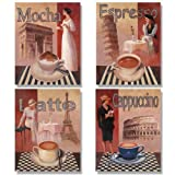 Cafe Kitchen Decor 4 Coffee Posters Kitchen Cafe Decor Paris Art Print by Wallsthatspeak