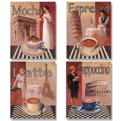 4 Coffee Posters Kitchen Cafe Decor Paris Art Print By Wallsthatspeak