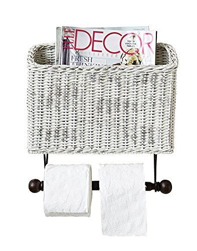 Creative Co-op Wicker Wall Magazine and Toilet Paper Holder (White Wicker Bathroom Accessories)