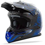 GMAX unisex-adult full-face-helmet-style Helmet (Mx86 Step) (Black/Black/Blue, XXX-Large)