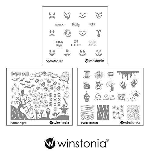 Winstonia Nail Art Stamping Image Plate Bundle Set for Halloween - Spooktacular, Horror Night, Hallo-scream -