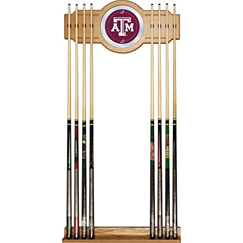 NCAA Texas A&M University Billiard Cue Rack with Mirror by Trademark Gameroom