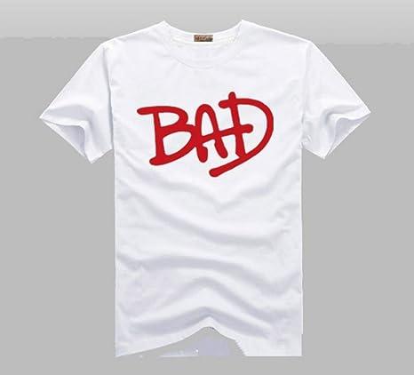 JJZHY Michael Jackson Album Bad Letters Camiseta de Manga Corta en Blanco y Negro de algodón: Amazon.es: Deportes y aire libre