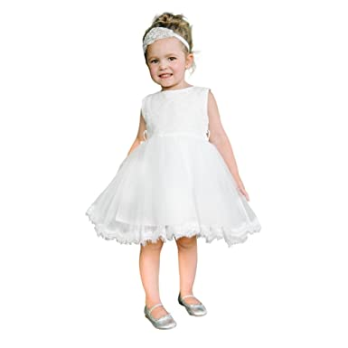 Amazon think pink bows girls off white lace tulle charlotte think pink bows baby girls off white lace charlotte flower girl dress 1y mightylinksfo
