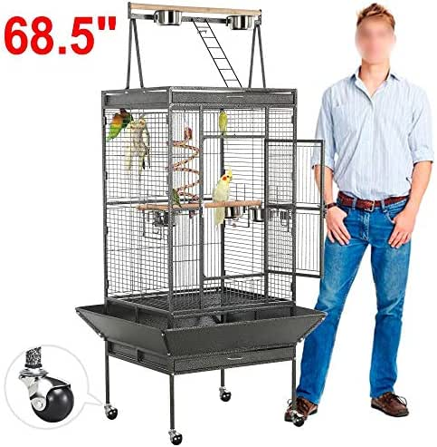 Yaheetech 69'' Wrought Iron Select Rolling Large Bird Cages for African Grey Parrots Cockatiels Green Cheek Conure Play Top Bird Cage with Stand
