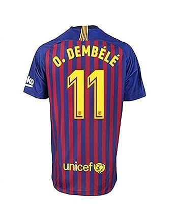 premium selection b9458 f0423 Amazon.com: Ousmane Dembele #11 Barcelona 18-19 Home Mens ...