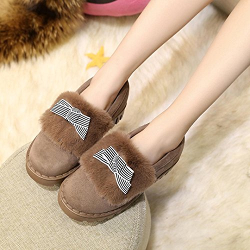 Womens Booties Slipper,Clode® Women Flat Cotton Shoes Keep Warm Winter Shoes Snow Ankle Boots Shoes Brown
