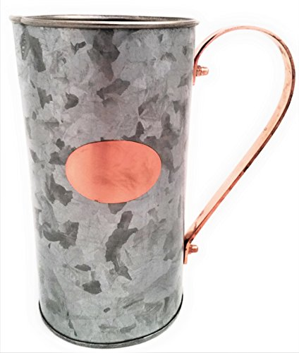 Galrose Galvanized Iron Decorative Metal Water Pitcher Carafe Drinks-Juice Serving Jug Waterproof for Flower Arrangements Rose Gold finish Plaque & Stylish Handle Ideal Gift for Iron Anniversary Review