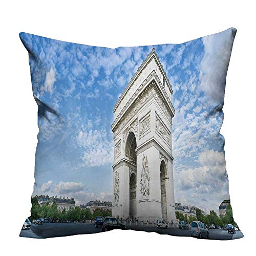YouXianHome Decorative Throw Pillow Case Panorama of The Square with Arc de Triomphe in Paris,France. Ideal Decoration(Double-Sided Printing) 20x20 inch ()