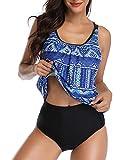 Yonique Ladies Tribal Blouson Tankini Swimsuits 2 Piece Bathing Suits Blue XL