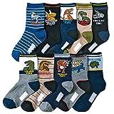 Kids Boy's Fashion Cartoon Dinosaurs Pattern Sport Socks 10 Pairs (4-7 years, Dinosaurs 2)