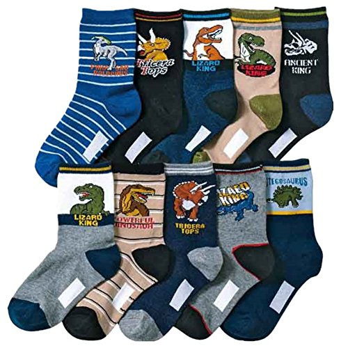 Kids Boy's Fashion Cartoon Dinosaurs Pattern Sport Socks 10 Pairs (8-12 years,...