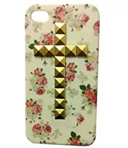 DIY Punk Single Cross Style Mobile Phone Protective Skin for iPhone 5 Mobile Cover with Studs and Spikes Golden