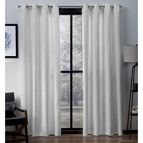 Exclusive Home Curtains Virenze Faux Silk Window Curtain Panel Pair with Grommet Top, 54x84, Winter White, 2 Piece