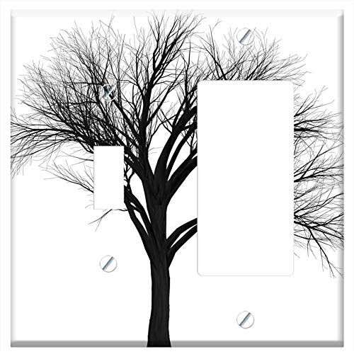 1-Toggle 1-Rocker/GFCI Combination Wall Plate Cover - Tree Branch Empty Isolated Black Spooky Hallo ()