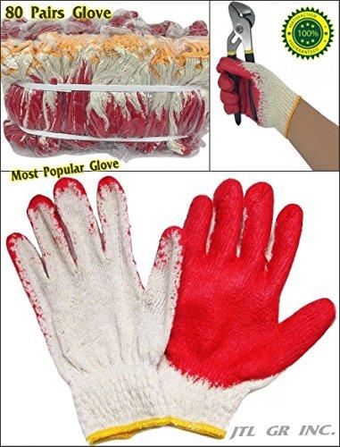 - 80 pairs Wholesale Korean Premium Red Latex Palm coated cotton Grip glove