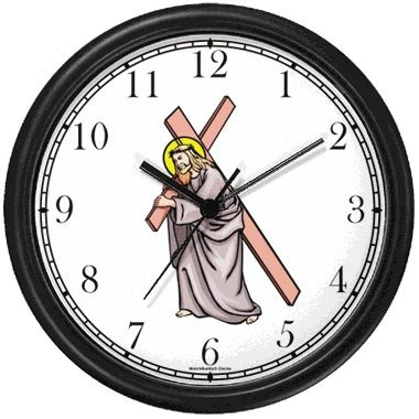 Jesus Christ Carrying Cross Christian Theme Wall Clock by WatchBuddy Timepieces (Hunter Green Frame) ()
