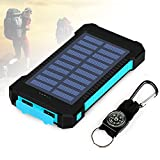 Foreverrise 10000mAh Solar Charger Dual USB Battery Pack Portable Phone Solar Power Bank Waterproof Battery Charger with LED Light and Carabiner with Compass Pack for Most USB Devices(Blue)