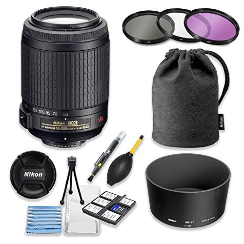 Nikon 55-200mm f/4-5.6G ED IF AF-S DX VR [Vibration Reduction] Nikkor Zoom Lens Bundle with Professional HD Filters, Nikon Lens Hood, Nikon Lens Case, 5 Piece Lens Starter Kit.