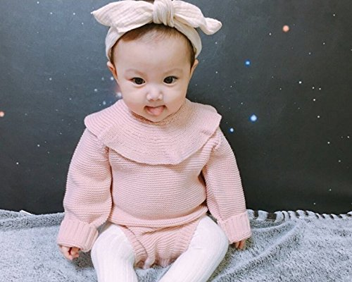 cca873cbfd9 Amazon.com  GObabyGO Baby Girls Long Sleeve Doll Collar Knitted Sweater  Rompers Jumpsuit  Clothing