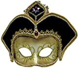 Gold and Black Deluxe Venetian Mask with Headpiece