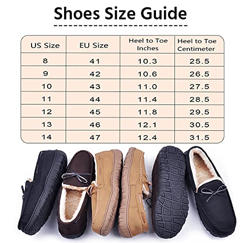 festooning Slippers for Men, Mens Moccasin Slippers with Soft Plush Warm Lining Casual Shoes Indoor Outdoor Non Slip Rubber Sole Black 10 M US
