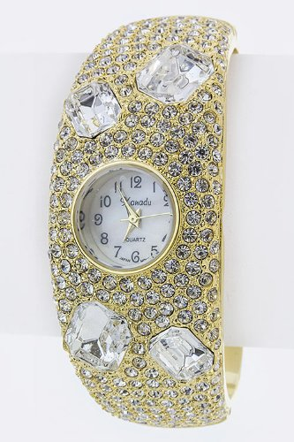 Trendy Fashion Jewelry Bling Out Crystal Bangle Watch By Fashion Destination   (Gold)
