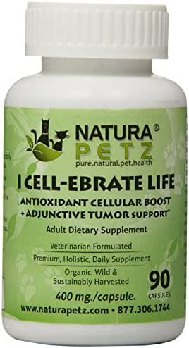Natura Petz I Cell-Ebrate Life Antioxidant Cellular Boost, Adjunctive Tumor Support for Adult Pets, 90 Capsules, 400mg Per Capsule