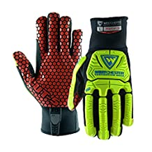 West Chester 87030 R2 Rigger Gloves with Cut Resistant Silicone Palm, XL, Red