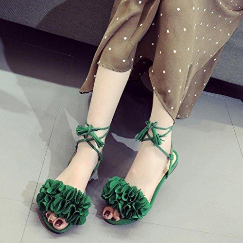 Chaussures Fleurs Vert Femmes Talon Dérapage Anti Plat Pantoufle Sandales Mode Pompon Plage Igemy Ix1aSEqwq