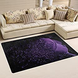 "SAVSV Area Rug Carpet Floor Mat 5' x 3'3""(60""x39"") Lightweight Printed Decorative Contemporary Purple Rose In The Dark Fade Resistant For Living Room Bedroom"