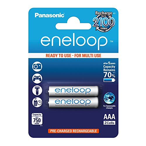 Panasonic eneloop AAA Ready-to-Use Micro NI-MH Akku BK-4MCCE/2BE (750 mAh, 2er Pack) -