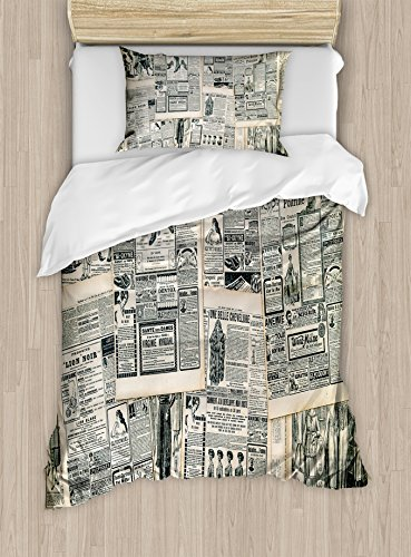 Newspaper Cover (Antique Duvet Cover Set Twin Size by Ambesonne, Vintage Style Sepia Toned Newspaper Print with Old Fashioned Illustrations, Decorative 2 Piece Bedding Set with 1 Pillow Sham, Dark Green Beige)