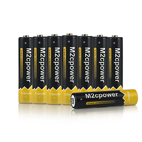 M2cpower® NiMH 1100mAh AAA Rechargeable Batteries (8 Pack) (Aaa Rechargeable Nimh Batteries)