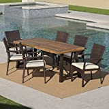 Playa Outdoor 7 Piece Dining Set with Teak Finished Wood Table and Brown Wicker Dining Chairs with Crème Water Resistant Cushions