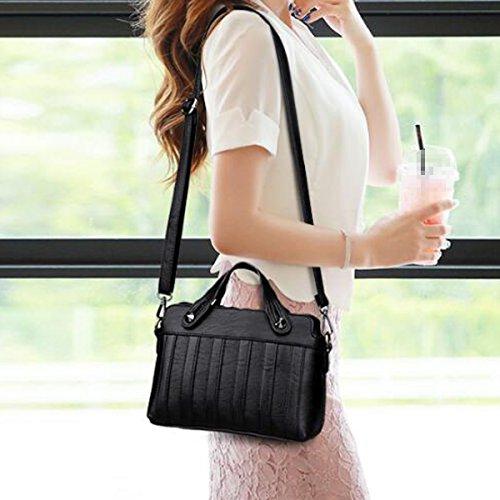 Mujeres Moda Stripe Bolsa De Hombro De Cuero Lady Satchel Bolsa De Bolsa Crossbody Multicolor Black