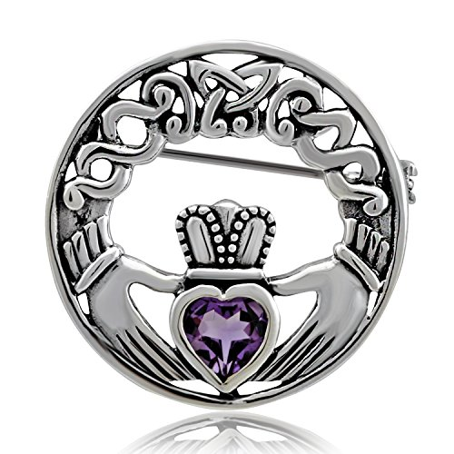 Amethyst Sterling Silver Charm - WithLoveSilver Sterling Silver 925 Charm Amethyst Claddagh Celtic Iris Friendship Brooch Pin