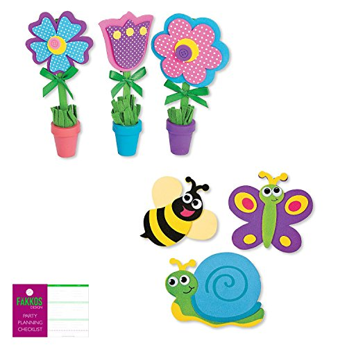 Spring Flower Themed Craft Kit for Kids - Makes 12 of Each (Spring Checklist)