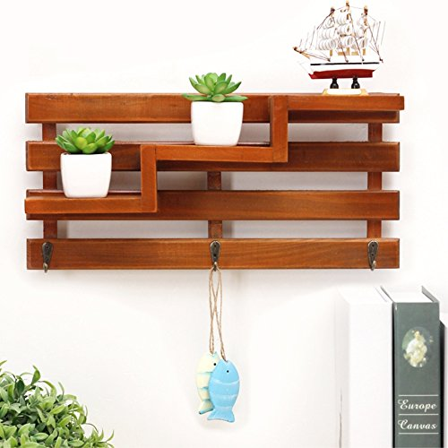 Wood Wall Shelf, Creative 3-Tier Wall Mount Wooden Rack With 3 Hooks Retro, Multi Use For Hallway Living Room Office Bathroom Kitchen bedroom (Brown) (Creative Shelf)