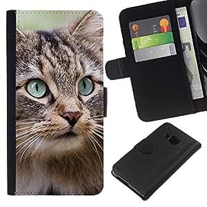 eJoy---La carpeta del tirón la caja de cuero de alta calidad de la PU Caso protector - HTC One M7 - --Maine Coon Norwegian Forest Cat