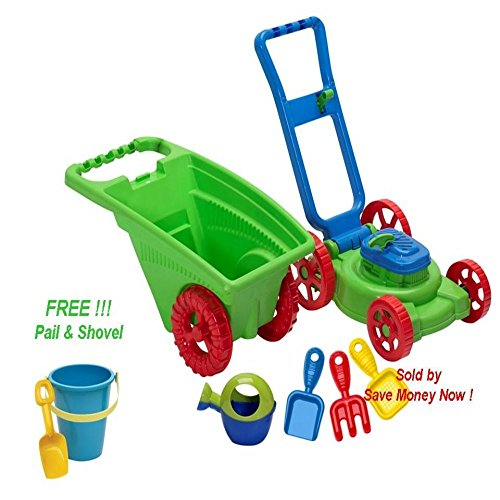Kids / Toddler Pretend Plastic Toy Lawn Mower, Garden Cart/