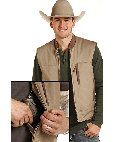 Panhandle Powder River Outfitters Men's Brushed Twill Conceal and Carry Vest Tan X-Large (River Twill Vest)