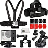 Aviation Accessory Kit Includes Handlebar Seatpost Mount + Chest Strap + Head Strap + 360 Car Suction Cup Mount + 2X Curved & Flat Adheive Mounts + Frame Mount Housing + Microfiber Cleaning Cloth for GoPro HERO+, HERO4 Session, HERO4, HERO3+, HERO3 (Black, Silver & White), HERO & HERO+ LCD