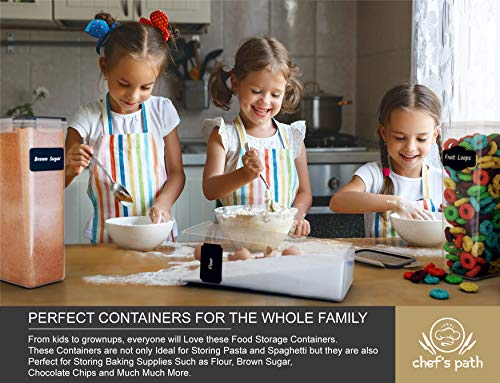 Chef's Path Airtight Food Storage Container Set - 8 PC - Kitchen & Pantry Organization - BPA-Free - Plastic Canisters with Durable Lids Ideal for Cereal, Flour & Sugar - Labels, Marker & Spoon Set