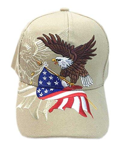 Aesthetinc Patriotic American Eagle and American Flag Baseball Cap USA 3D Embroidery (Khaki)