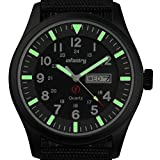 INFANTRY Mens Luminous Military Analog Date Day Sport Wrist Watch with Black Nylon Band, GLow In The Dark