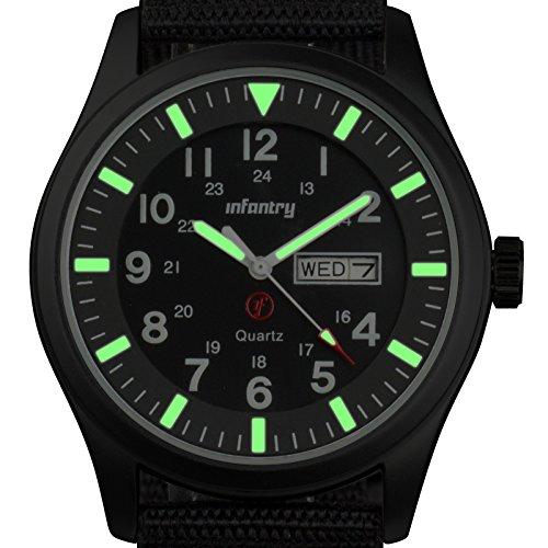 INFANTRY Mens Luminous Military Army Analog 12/24H Date-Day Sport Wrist Watch Black Nylon, GLow In The Dark