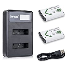 TOP-MAX 2x NP-BX1 Battery + Dual USB LED Charger for Sony Cyber-shot DSC-RX100, DSC-RX100 II, DSC-RX100M II, DSC-RX100 III, DSC-RX100 V, DSC-RX100 IV, HDR-CX405