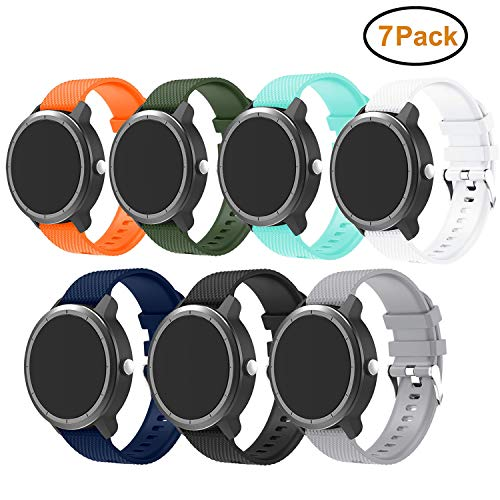 BIGTANG Compatible for Vivoactive 3 Watch Band, Soft Silicone 20mm Quick Release Replacement Bands for Garmin Vivoactive 3/ Garmin Forerunner 645 Music/Samsung Galaxy 42mm Smart Watch - 7 Pack